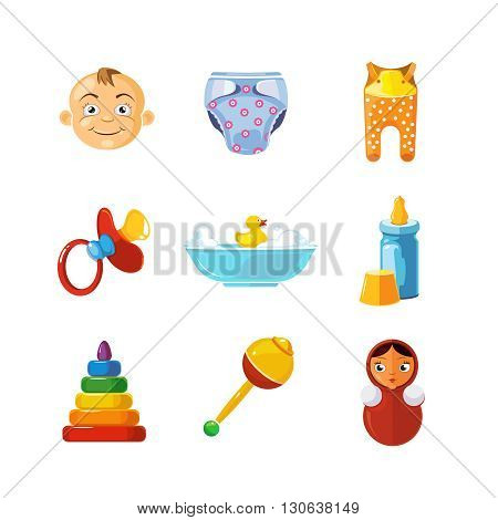 Vector pistures of Toys icons set isolate on white background. Toys icons for web, ui, and logo developes. Funny cartoon Toys icons for kids.