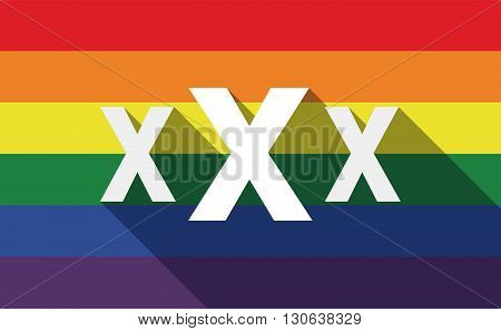 Long Shadow Gay Pride Flag With  A Xxx Letter Icon
