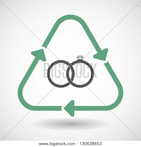 Line Art Recycle Sign Icon With  Two Bonded Wedding Rings