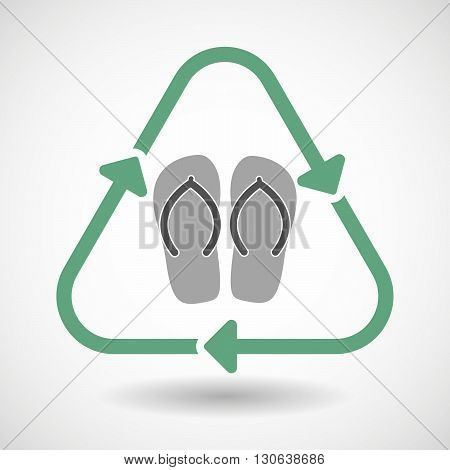 Line Art Recycle Sign Icon With   A Pair Of Flops