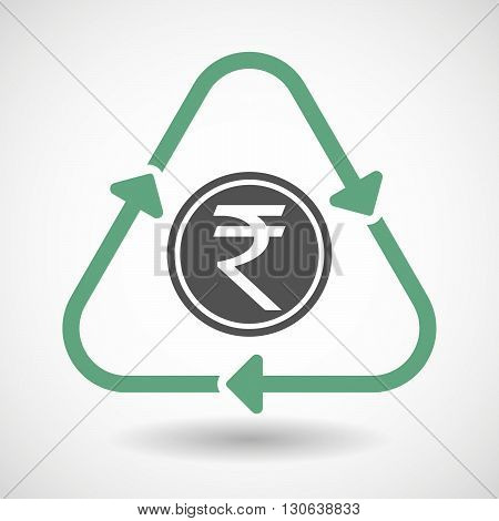 Line Art Recycle Sign Icon With  A Rupee Coin Icon