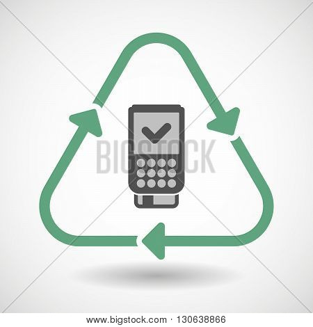 Line Art Recycle Sign Icon With  A Dataphone Icon