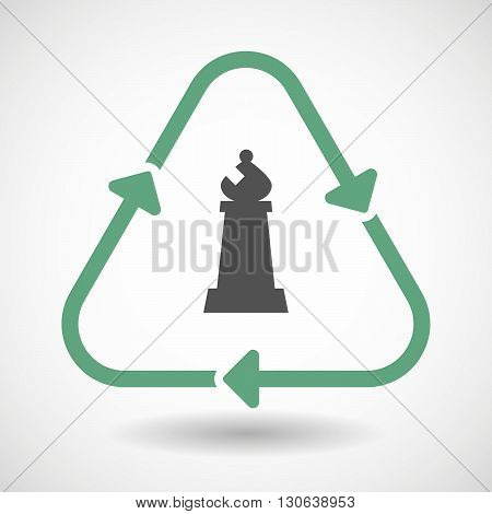 Line Art Recycle Sign Icon With A Bishop    Chess Figure