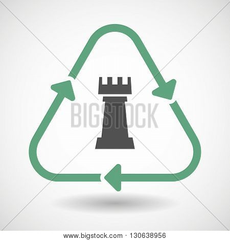 Line Art Recycle Sign Icon With A  Rook   Chess Figure