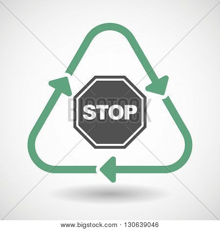 Line Art Recycle Sign Icon With  A Stop Signal