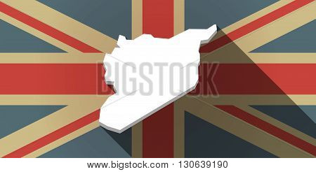 Long Shadow Uk Flag Icon With  The Map Of Syria