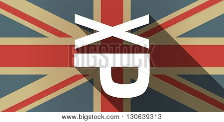 Long Shadow Uk Flag Icon With  A Tongue Sticking Text Face Emoticon