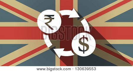 Long Shadow Uk Flag Icon With  A Rupee And Dollar Exchange Sign