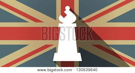 Long Shadow Uk Flag Icon With A Bishop    Chess Figure