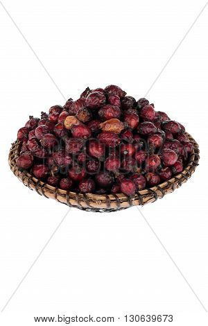Dried briar on the plate isolated on a white background