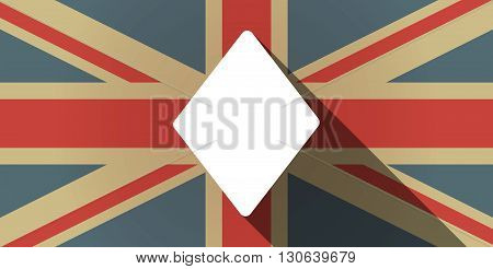 Long Shadow Uk Flag Icon With  The  Diamond  Poker Playing Card Sign