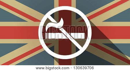 Long Shadow Uk Flag Icon With  A No Smoking Sign