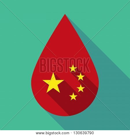 Long Shadow Blood Drop With  The Five Stars China Flag Symbol