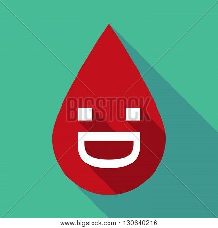 Long Shadow Blood Drop With A Laughing Text Face
