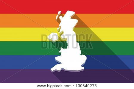Long Shadow Gay Pride Flag With  A Map Of The Uk