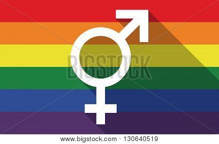 Long Shadow Gay Pride Flag With A Female Avatar