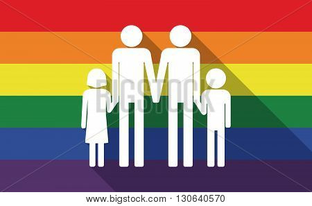 Long Shadow Gay Pride Flag With A Gay Parents  Family Pictogram