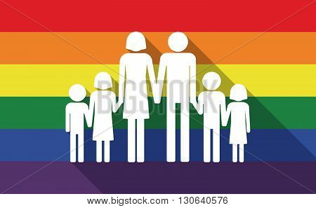 Long Shadow Gay Pride Flag With A Large Family  Pictogram