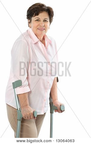 senior woman on crutches
