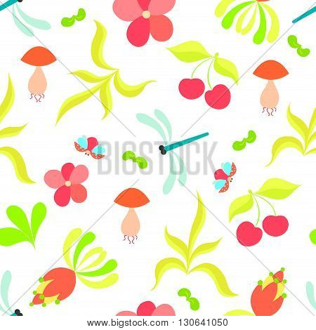 Colorful floral seamless pattern with gragonflies and ladybirds. Summer vector set. It is perfect for fabric, cards, party invitations, baby shower albums and scrap booking.
