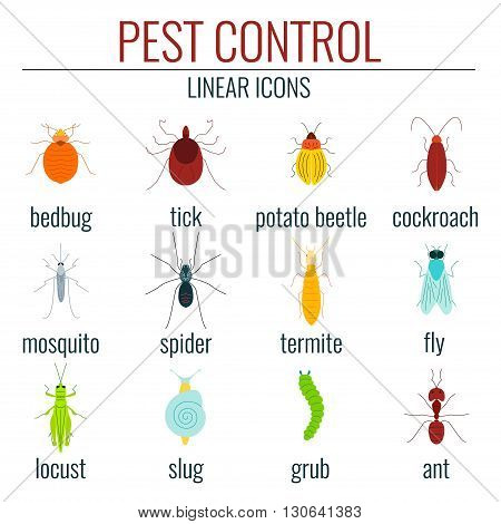 Collection of pest control colored insect icons.  Perfect for exterminator service and pest control companies.