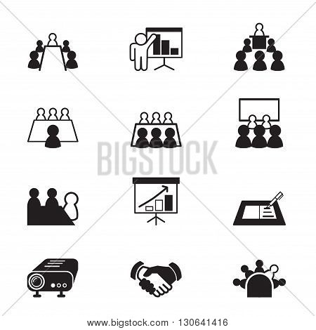 business meeting and Conference icons set  illustration graphic design