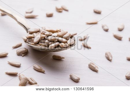 Sunflower Seeds On Spoon