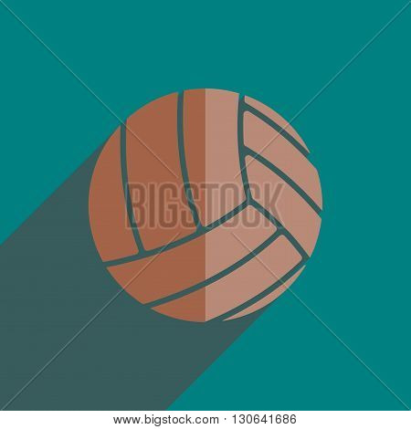 Flat icons with shadow of volleyball ball. Vector illustration
