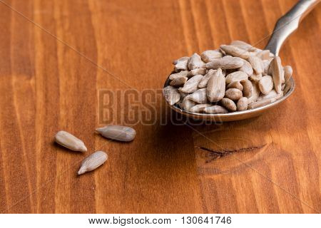 Sunflower Seeds On Wooden Table