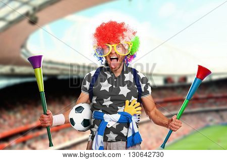 Football fan in a coloured wig and big glasses