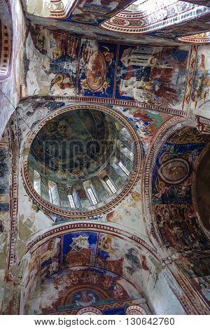 Kutaisi, Georgia - August 25, 2015: Interior and frescoes in Gelati The Monastery of the Virgin