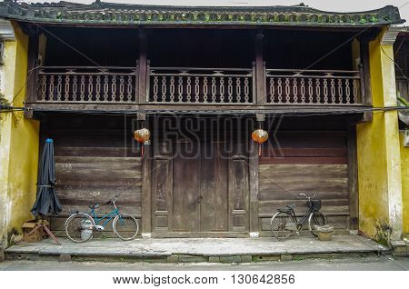 HOI AN, VIETNAM - January 7, 2015: Old traditional chinese wooden house in Hoi An ancient town Vietnam.Hoi An Vietnam