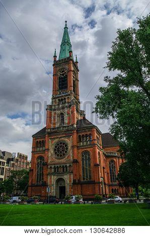 Protestant Church Saint Johans (Johanneskirche) in the square of Martin Luther Dusseldorf German
