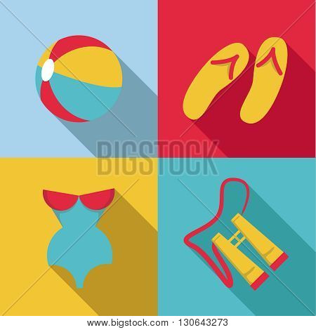 Flat design style Summer acessories icon set