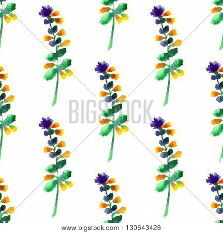 Seamless floral pattern with watercolor flowers in vintage style. Nature vector background. Surface design with elements of wildflowers