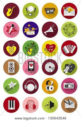 Set of music icons isolated on a white background