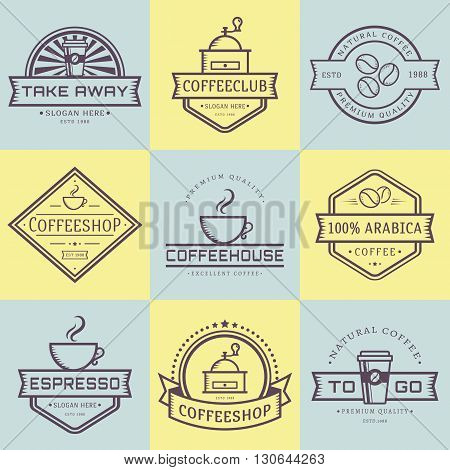 Coffee logo collection. Templates in outline style. Set of retro labels for coffee shop or cafe. Isolated logotypes on yellow and blue stickers. Vector illustration.