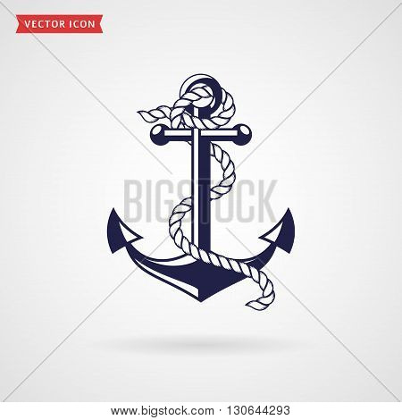 Anchor icon isolated on white background. Silhouette of anchor with rope. Sea nautical and travel themes. Vector illustration.