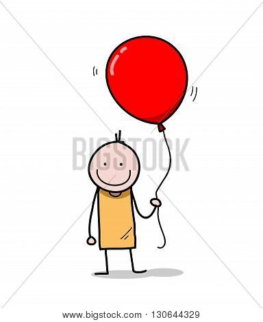 Party Boy, a hand drawn vector illustration of a stick figure holding a big balloon.