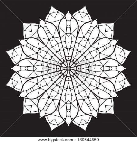 Black and white abstract pattern mandala. Vector design template for art.