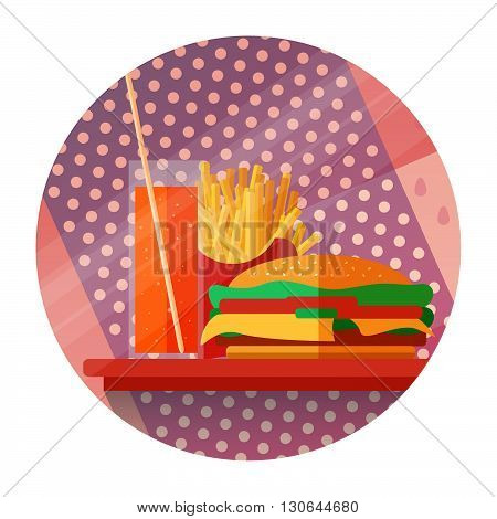 Fast food concept. Icons with fries burgers a drink on a tray in a flat style. Can be used for print web printed publications