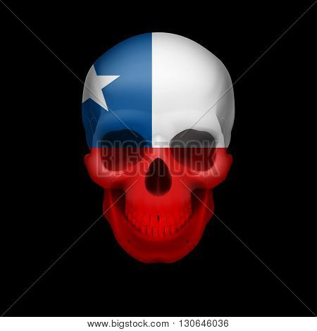 Human skull with flag of Chile. Threat to national security war or dying out