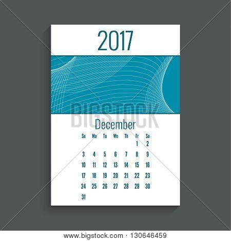 Monthly calendar for 2017. Planner. Template grid. Color blue.  Week Starts Sunday. Technology, technical vector. Futuristic high tech design. Months december.