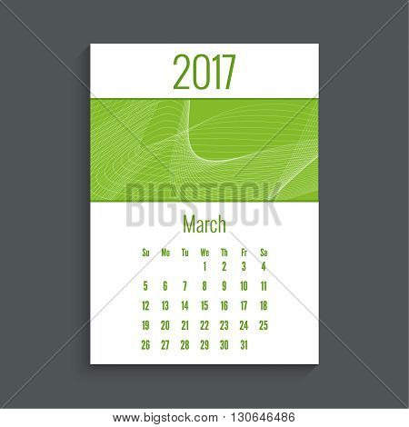 Monthly calendar for 2017. Planner. Template grid. Color green.  Week Starts Sunday. Technology, technical vector. Futuristic high tech design. Months march.
