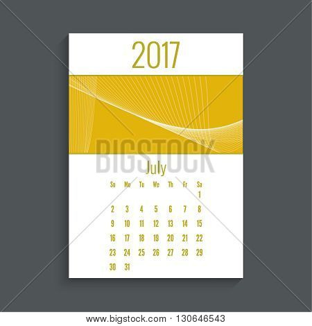 Monthly calendar for 2017. Planner. Template grid. Color yellow.  Week Starts Sunday. Technology, technical vector. Futuristic high tech design. Months july.