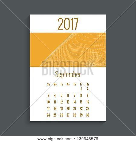 Monthly calendar for 2017. Planner. Template grid. Color orange.  Week Starts Sunday. Technology, technical vector. Futuristic high tech design. Months september.