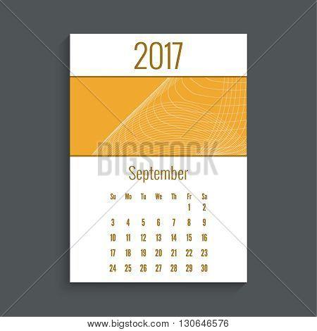 Monthly calendar for 2017. Planner. Template grid. Color orange.  Week Starts Sunday. Technology, technical vector. Futuristic high tech design. Months september.