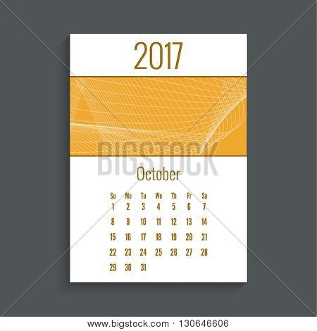 Monthly calendar for 2017. Planner. Template grid. Color orange.  Week Starts Sunday. Technology, technical vector. Futuristic high tech design. Months october.