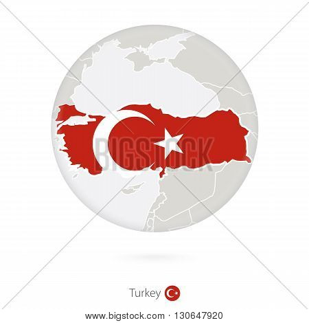 Map Of Turkey And National Flag In A Circle.