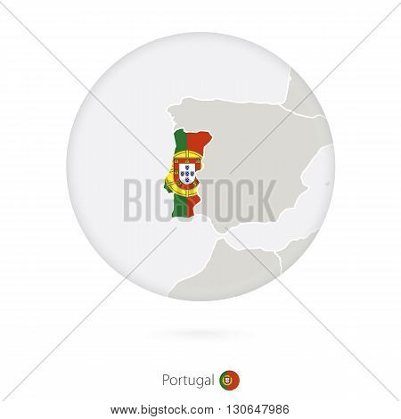 Map Of Portugal And National Flag In A Circle.